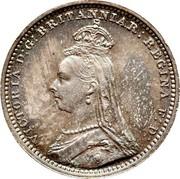 UK 2 Pence Victoria 1891 Prooflike KM# 771 VICTORIA D : G : BRITANNIAR : REGINA F: D: coin obverse