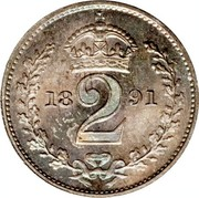 UK 2 Pence Victoria 1891 Prooflike KM# 771 2 coin reverse