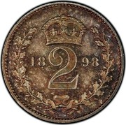 UK 2 Pence Victoria 1898 Prooflike KM# 776 2 coin reverse
