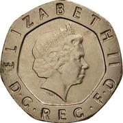 UK 20 Pence Elizabeth II 2007 Proof KM# 990 ELIZABETH II D∙G∙REG∙F∙D IRB coin obverse