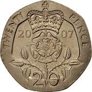 UK 20 Pence Elizabeth II 2007 Proof KM# 990 TWENTY PENCE 20 00 W G 20 coin reverse