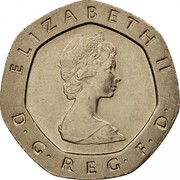 UK 20 Pence Tudor Rose 1982 Proof KM# 931 ELIZABETH II D∙G∙REG∙F∙D∙ coin obverse