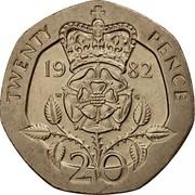 UK 20 Pence Tudor Rose 1982 Proof KM# 931 TWENTY PENCE 19 82 W G 20 coin reverse