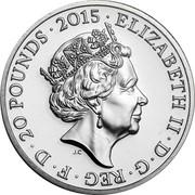 UK 20 Pounds The Longest Reigning British Monarch 2015 British Royal Mint KM# 1304 ELIZABETH II ∙ D ∙ G ∙ REG ∙ F ∙ D ∙ 20 POUNDS ∙ 2015 ∙ J.C coin obverse