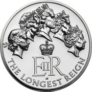 UK 20 Pounds The Longest Reigning British Monarch 2015 British Royal Mint KM# 1304 E II R ST THE LONGEST REIGN coin reverse