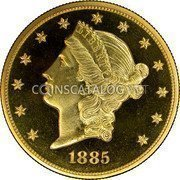 USA $20 Twenty Dollars (Double eagle) Liberty Gold Double Eagle 1885 KM# 74.3 LIBERTY DATE coin obverse