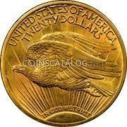 USA Twenty Dollars St. Gaudens Double Eagle 1915 KM# 131 UNITED • STATES • OF • AMERICA TWENTY • DOLLARS IN • GOD • WE • TRUST coin reverse