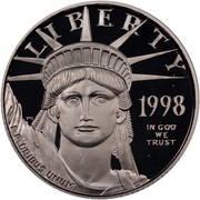 USA $25 American Eagle 1998 W Proof KM# 290 LIBERTY 1998 E PLURIBUS UNUM IN GOD WE TRUST coin obverse