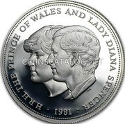 UK 25 New Pence Wedding of Prince Charles and Lady Diana Spencer 1981 Proof KM# 925a H.R.H. THE PRINCE OF WALES AND LADY DIANA SPENCER PN ·1981· coin reverse