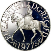 UK 25 New Pence Queen's Silver Jubilee 1977 Proof KM# 920 - coin reverse