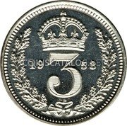 UK 3 Pence 1953 Prooflike KM# 887 Pre-Decimal coinage coin reverse