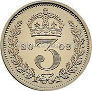 UK 3 Pence 2002 British Royal Mint Prooflike KM# 901a Pre-Decimal coinage coin reverse