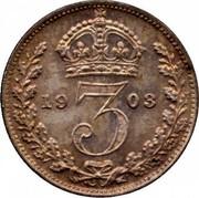 UK 3 Pence Edward VII 1903 KM# 797.1 *YE 3 AR* coin reverse