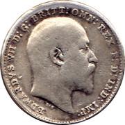 UK 3 Pence Edward VII 1908 KM# 797.2 EDWARDVS VII D:G: BRITT:OMN:REX F:D: IND: IMP: DES coin obverse