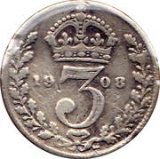 UK 3 Pence Edward VII 1908 KM# 797.2 *YE 3 AR* coin reverse