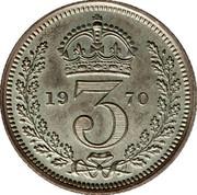 UK 3 Pence Elizabeth II 1970 British Royal Mint Prooflike KM# 901 *YE 3 AR* coin reverse
