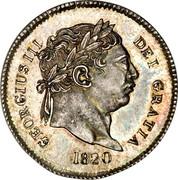 UK 3 Pence George III 1820 KM# 670 GEORGIUS III DEI GRATIA coin obverse