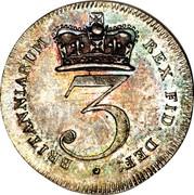 UK 3 Pence George III 1820 KM# 670 BRITANNIARUM REX FID: DEF: * 3 coin reverse
