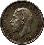 UK 3 Pence George V 1934 Prooflike KM# 827 GEORGIVS V D.G: BRITT: OMN: REX F.D. IND:IMP: B.M. coin obverse