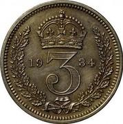 UK 3 Pence George V 1934 Prooflike KM# 827 *YE 3 AR* coin reverse