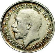 UK 3 Pence George V 2nd issue 1914 Prooflike KM# 813 GEORGIVS V D.G.BRITT:OMN:REX F.D.IND:IMP: B.M. coin obverse