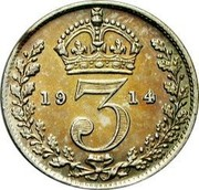 UK 3 Pence George V 2nd issue 1914 Prooflike KM# 813 *YE 3 AR* coin reverse
