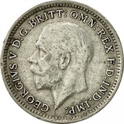 UK 3 Pence George V 2nd issue 1926 Prooflike KM# 813a GEORGIVS V D.G. BRITT:OMN:REX F.D.IND:IMP: B.M. coin obverse