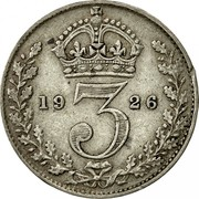 UK 3 Pence George V 2nd issue 1926 Prooflike KM# 813a *YE 3 AR* coin reverse