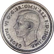 UK 3 Pence George VI 1937 Prooflike KM# 850 GEORGIVS VI D:G:BR:OMN:REX F:D:IND:IMP. HP coin obverse