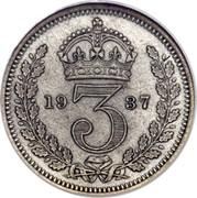 UK 3 Pence George VI 1937 Prooflike KM# 850 *YE 3 AR* coin reverse