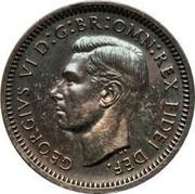 UK 3 Pence George VI 1950 Prooflike KM# 872 GEORGIVS VI D:G:BR:OMN:REX FIDEI DEF. HP coin obverse