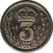 UK 3 Pence George VI 1950 Prooflike KM# 872 *YE 3 AR* coin reverse