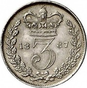 UK 3 Pence Victoria 1887 KM# 730 3 coin reverse