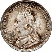 UK 3 Pence Victoria 1891 KM# 758 VICTORIA DEI GRATIA BRITT: REGINA F:D: coin obverse