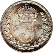 UK 3 Pence Victoria 1891 KM# 758 3 coin reverse