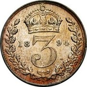 UK 3 Pence Victoria 1894 Prooflike KM# 777 3 coin reverse