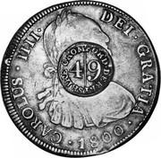 UK 4/9 (4 Shilling 9 Pence) Cromford Derbyshire ND KM# 643 CAROLUS IIII DEI GRATIA 1800 CROMFORD DERBYSHIRE 4/9 coin obverse