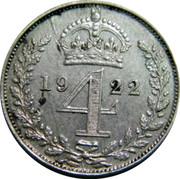 UK 4 Pence Groat 1922 Prooflike KM# 814a *YE 4 AR* coin reverse