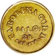 USA 5 Dollars (1842-52) KM# 86 August Bechtler CAROLINA GOLD. 20. CARATS 141. G. coin reverse