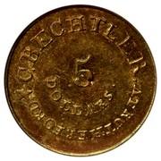 USA 5 Dollars 18XX KM# 78.2 Christopher Bechtler (Georgia) C. BECHTLER. AT RUTHERFORD 5 DOLLARS coin obverse