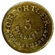 USA 5 Dollars 18XX KM# 78.1 Christopher Bechtler (Georgia) C. BECHTLER. AT RUTHERFORD * 5 DOLLARS coin obverse