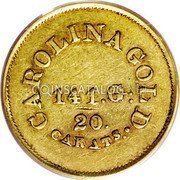 USA $5 Five Dollars (1842-52) KM# 86 August Bechtler CAROLINA GOLD. 20. CARATS 141. G. coin reverse