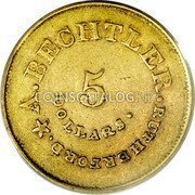 USA $5 Five Dollars (1842-52) KM# 86 August Bechtler A. BECHTLER. RUTHERFORD 5 DOLLARS. coin obverse