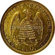 USA $5 Five Dollars 1860 KM# 105 Mormon Issues DESERET ASSAY OFETOE PURE GOLD 5. D. coin reverse