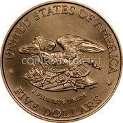 USA $5 Five Dollars (Half eagle) Civil War Battlefield Preservation 1995 W KM# 256 * UNITED STATES OF AMERICA * FIVE DOLLARS * E PLURIBUS UNUM LET US PROTECT AND PRESERVE coin reverse