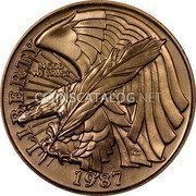 USA $5 Five Dollars (Half eagle) Constitution Bicentennial 1987 W KM# 221 LIBERTY IN GOD WE TRUST 1987 coin obverse