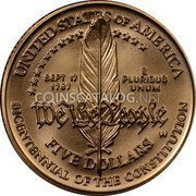 USA $5 Five Dollars (Half eagle) Constitution Bicentennial 1987 W KM# 221 UNITED STATES OF AMERICA BICENTENNIAL OF THE CONSTITUTION W FIVE DOLLARS SEPT 17 1787 E PLURIBUS UNUM WE THE PEOPLE coin reverse