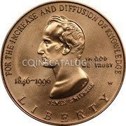 USA $5 Five Dollars (Half eagle) Smithsonian Institution 150th Anniversary 1996 W KM# 277 FOR THE INCREASE AND DIFFUSION OF KNOWLEDGE IN GOD WE TRUST JAMES SMITHSON 1846-1996 LIBERTY W coin obverse