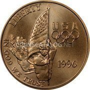 USA $5 Five Dollars (Half eagle) XXVI Olympiad Flag Bearer 1996 W KM# 274 LIBERTY IN GOD WE TRUST USA 1996 coin obverse