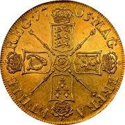 UK 5 Guineas Anne 1705 KM# 520.2 MAG BR ∙ FRA ET ∙ HIB REG ∙ coin reverse